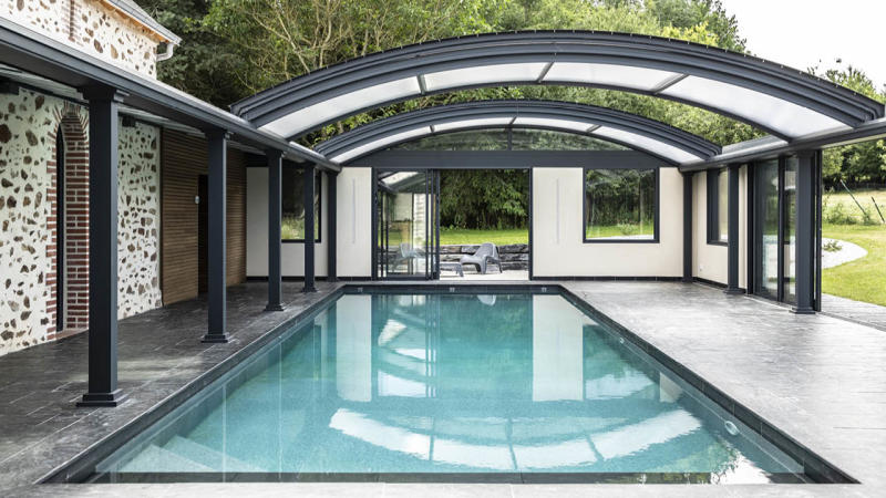Profiter par tous les temps ligne eau mineral piscine abri Ligne d'eau minérale Abris de piscine 3D Gris ardoise