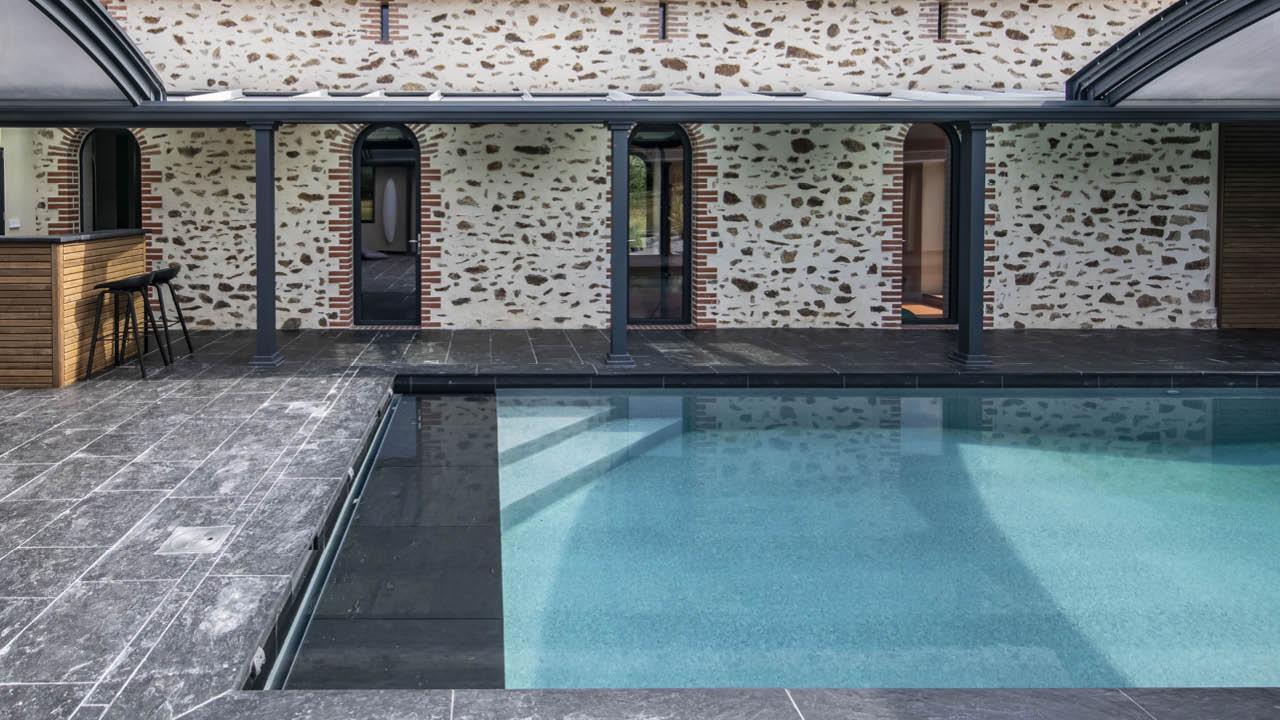 Profiter par tous les temps piscine beton ligne eau mineral escalier Ligne d'eau minérale Abris de piscine 3D Gris ardoise