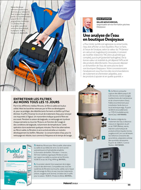 Bien filtrer et assainir l'eau article magazine filtration et deinfection baignade