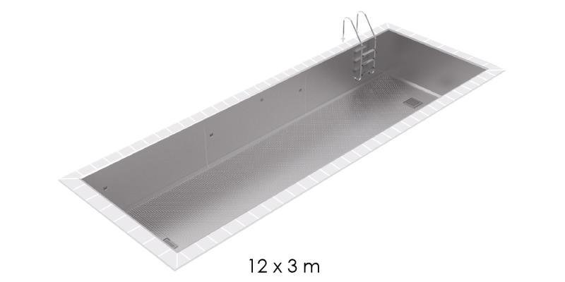 Piscine inox skimmer 12x3