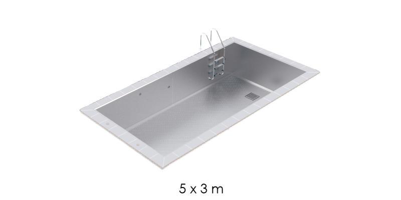 Piscine inox skimmer 5x3