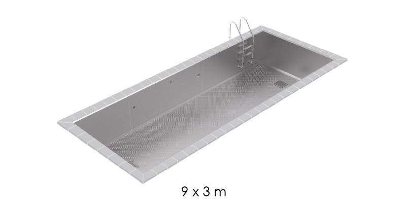 Piscine inox skimmer 9x3