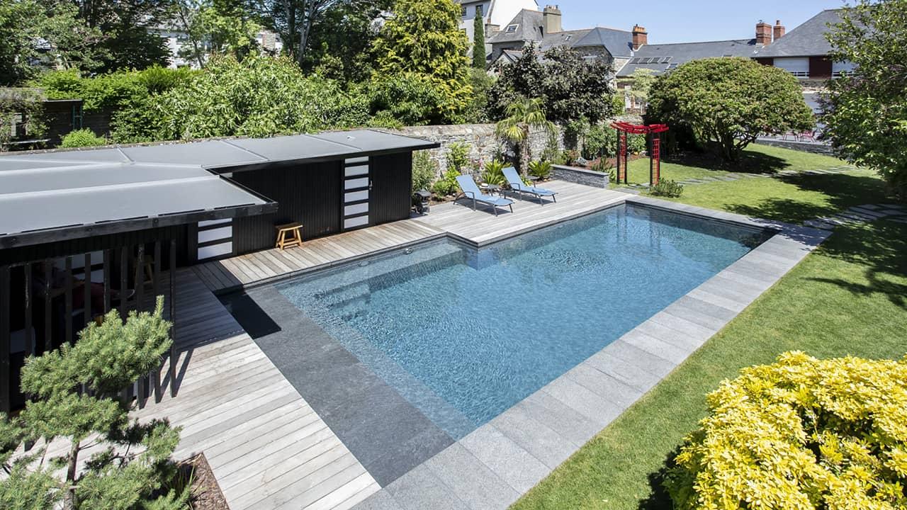 Baignade en toute sérénité banc volet esprit piscine 2020 76 Ligne d'eau minérale 3D Gris béton