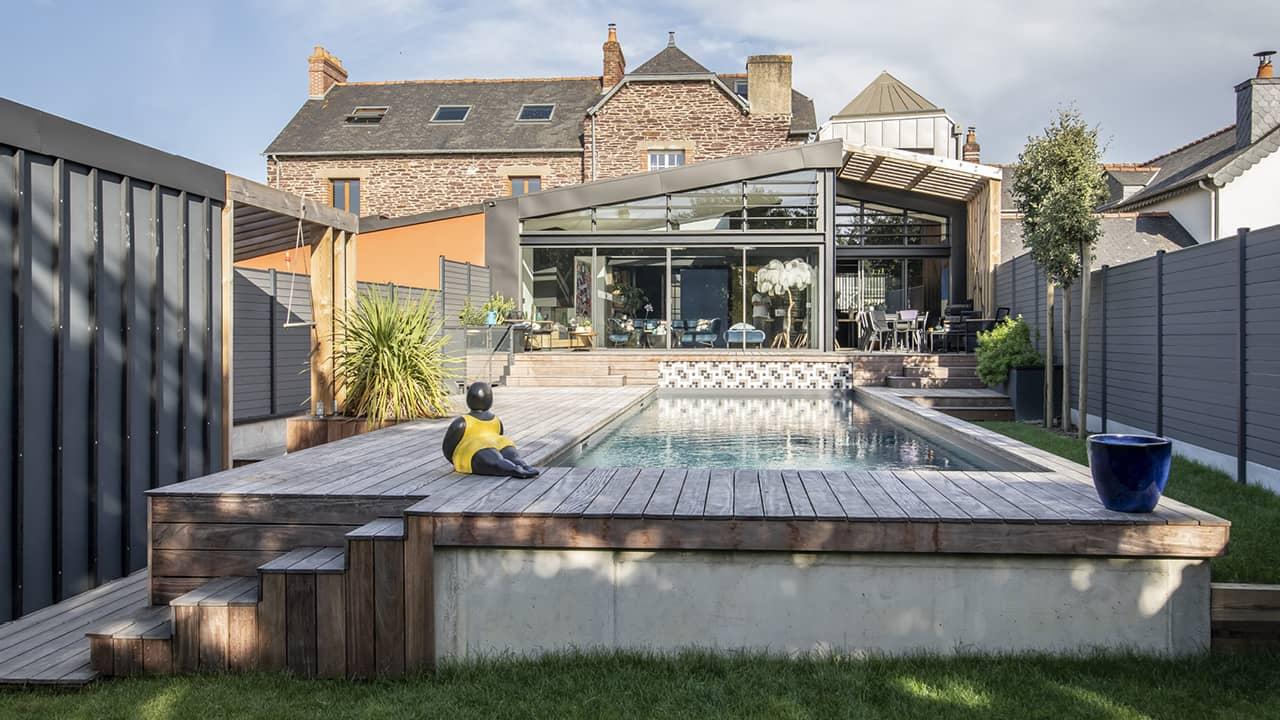 Cadre d'eau piscine hublot verre esprit piscine 2020 97 Piscine à paroi vitrée Gris anthracite