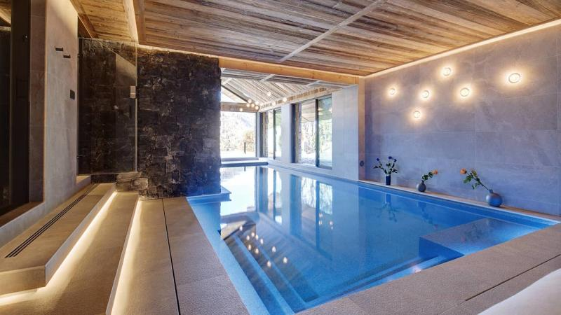 Détente à la montagne piscine intérieure chalet esprit piscine 2020 65 Piscine intérieure 3D Gris béton