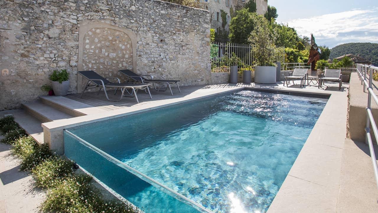 Zone de baignade époustouflante piscine mur verre esprit piscine 2020 103 Piscine à paroi vitrée 3D Gris béton