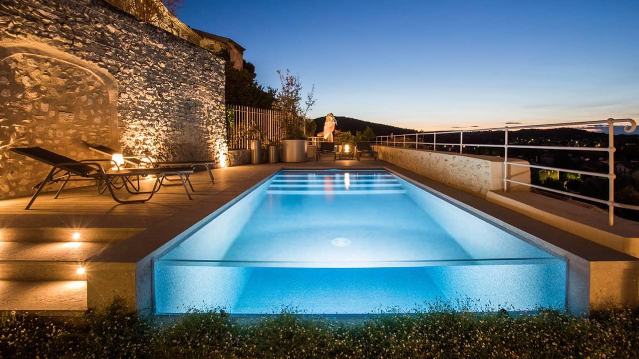 Zone de baignade époustouflante piscine verre nuit esprit piscine 2020 101 Piscine à paroi vitrée 3D Gris béton